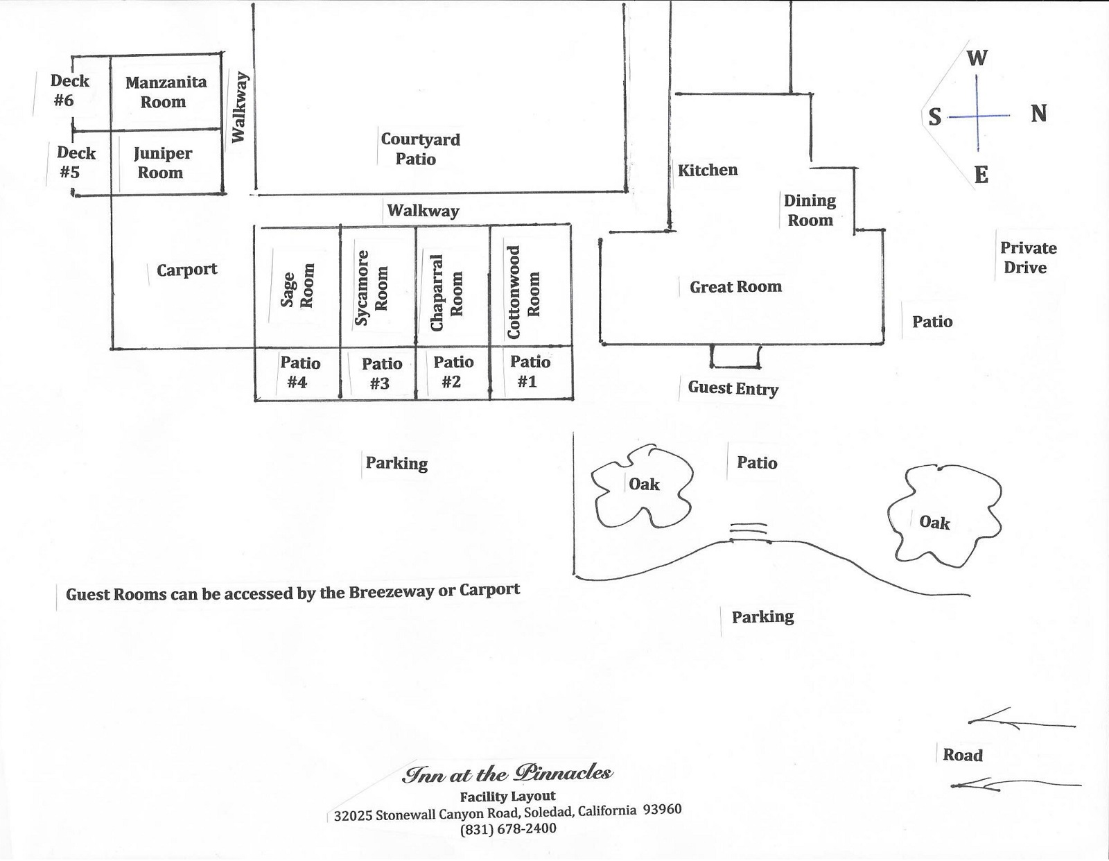 Inn at the Pinnacles | facility layout diagram | Soledad, CA