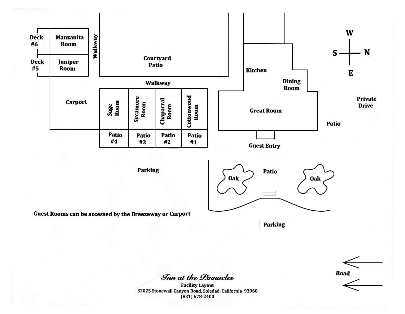 Inn at the Pinnacles | facility layout diagram | Soledad, CA