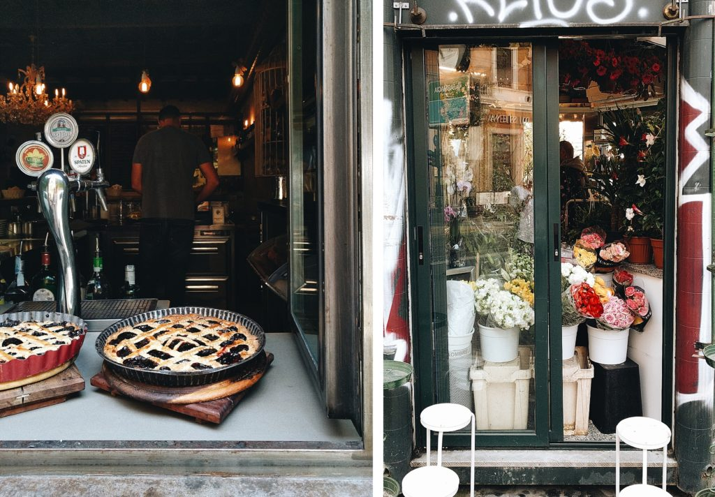 Pies in a window and flower shop