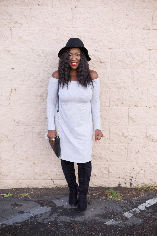 black hat- grey dress