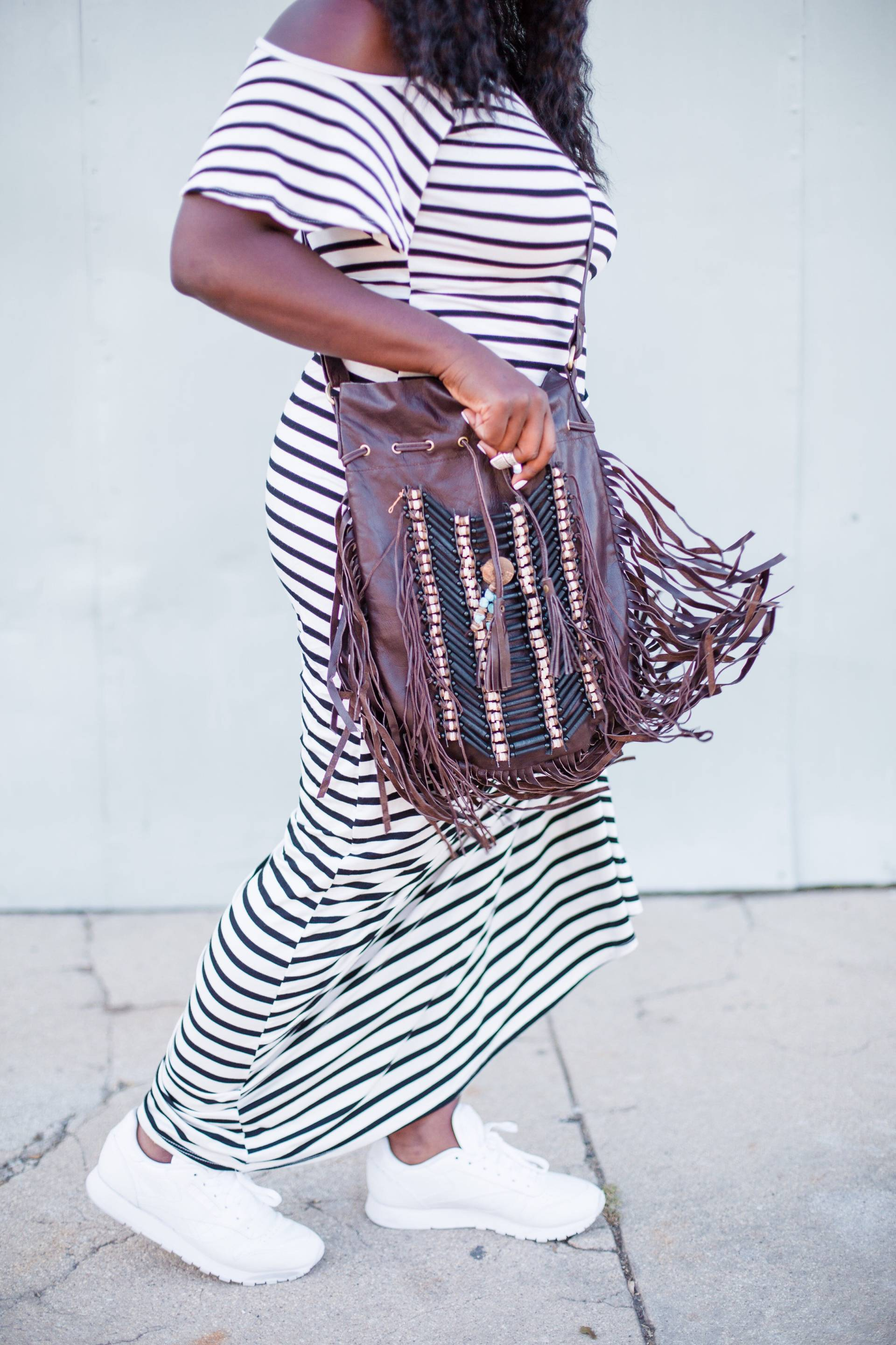 stripes-fringe- maxi dress