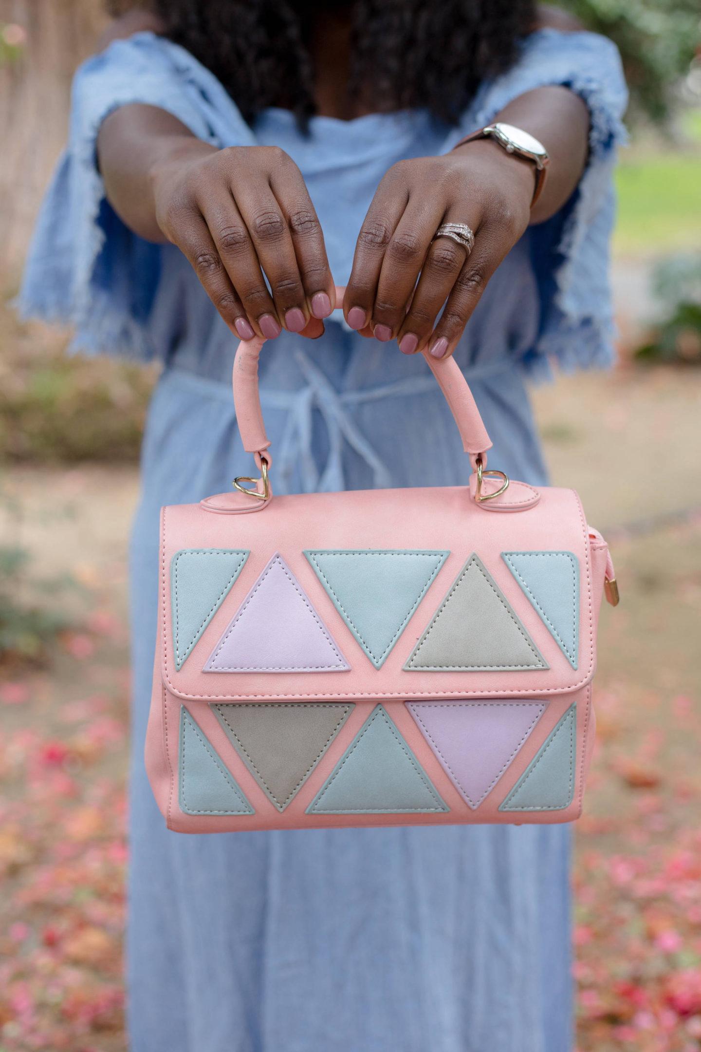 off-shoulder-dresses-shop-pink-blush- statement bag