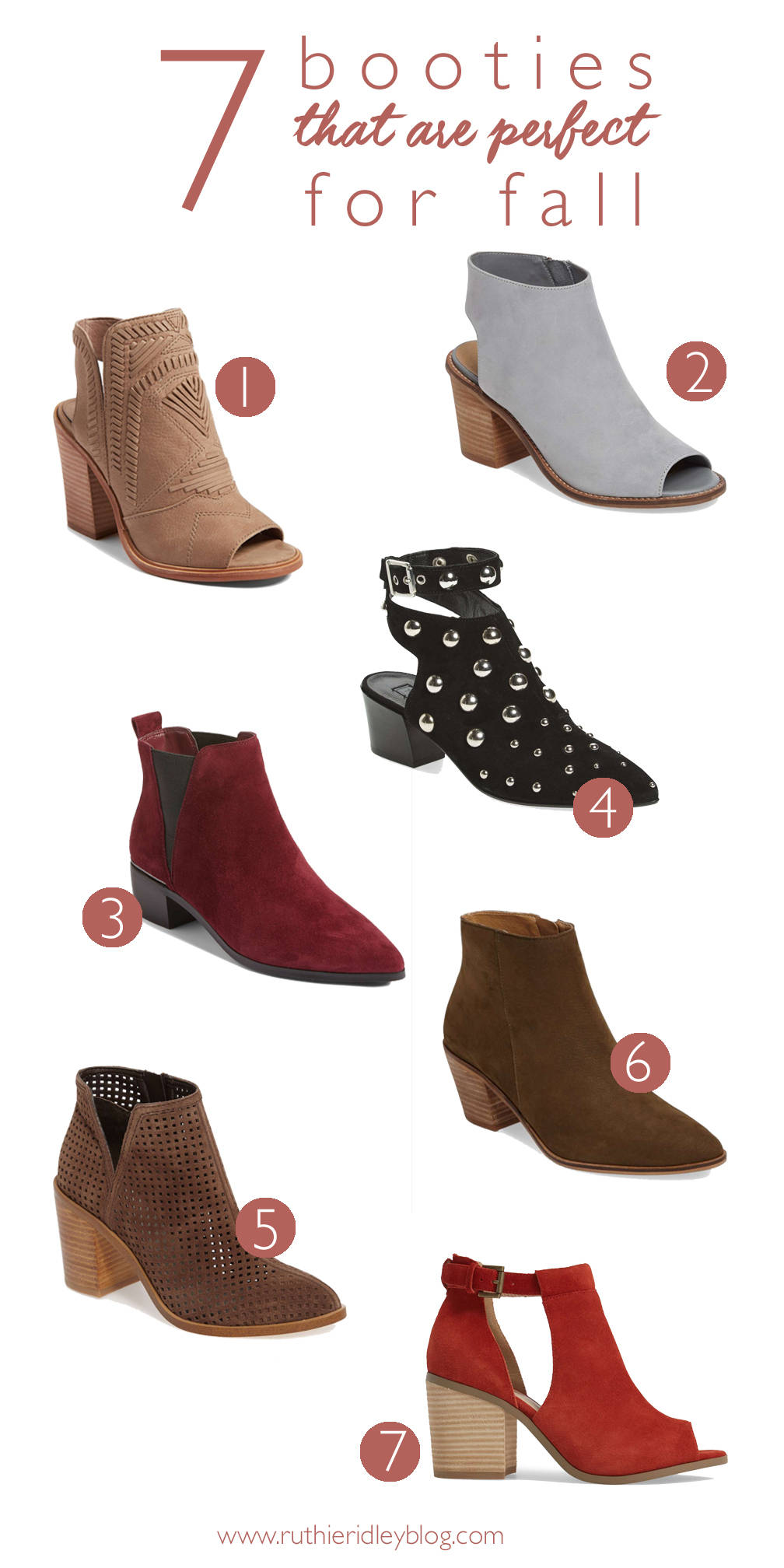 Open toe, studded, heeled and all the colors.... check out these perfect booties for Fall!