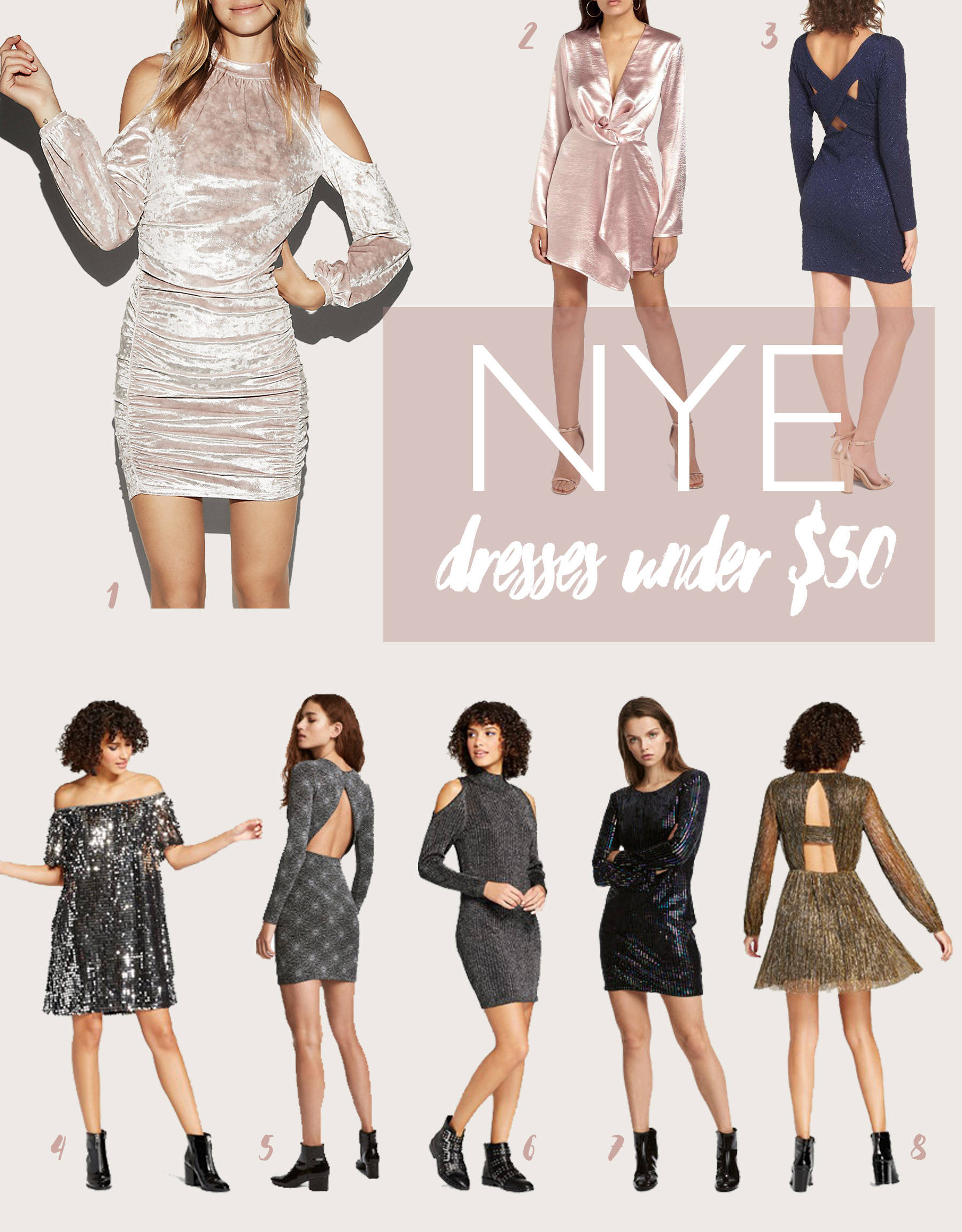 Want to look cute for NYE but not break the bank!? Today I have rounded up a series of stunning dresses, all under 50.00.  Celebrate NYE in style!