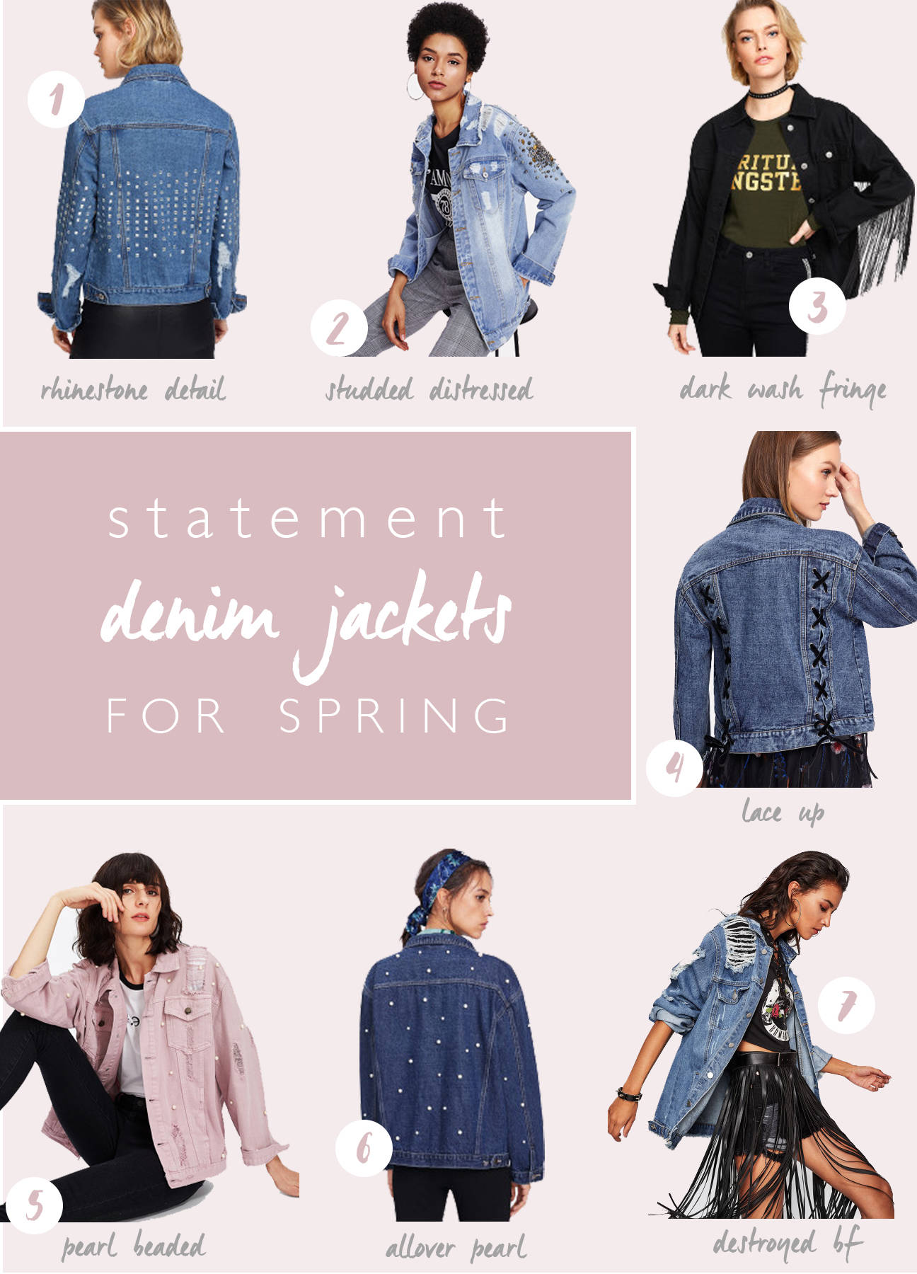 Affordable, statement denim jackets for Spring! Look cute, be warm, don't break the bank!! Love this round up! I hope you love it too!