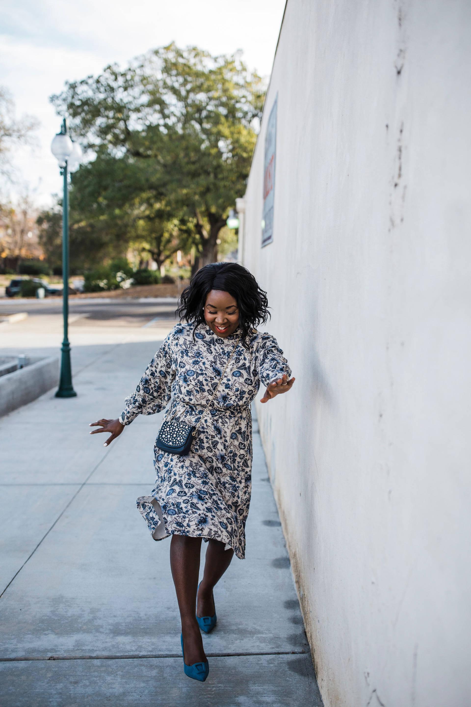 Ruthie Ridley Blog- Zara Blue Print Dress