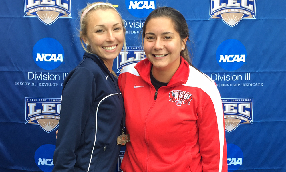 Taunton graduates Mollie McCaffrey and Alisha Silva had their respective programs go head to head this past weekend. (Courtesy photo)