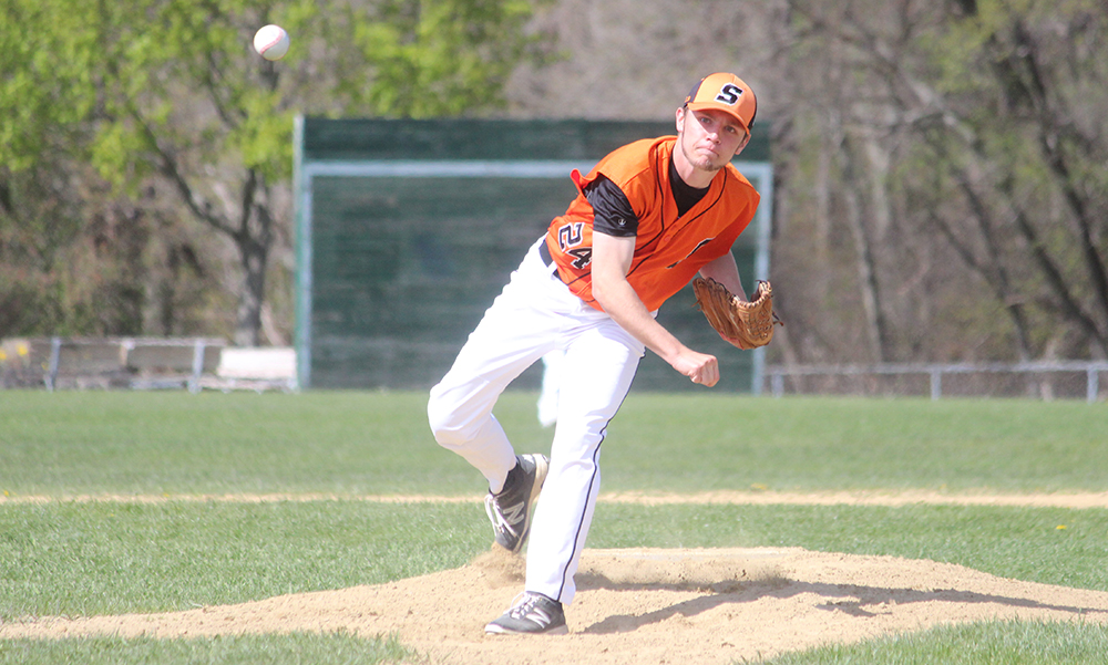 Stoughton junior Justin Hutchinson struck out a career-high 11 batters on Friday afternoon. (Ryan Lanigan/HockomockSports.com)