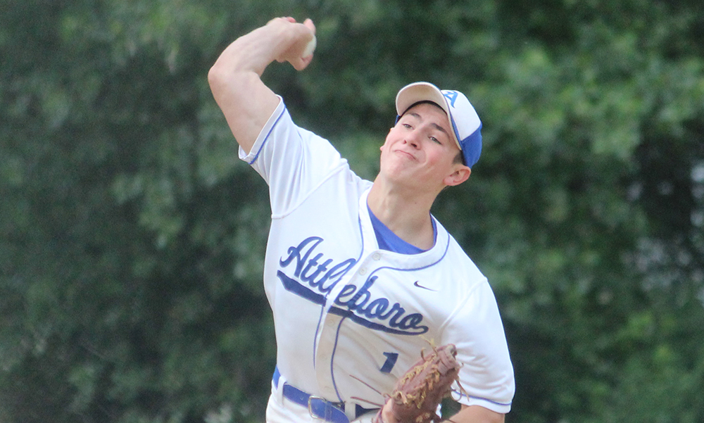 Attleboro's Nate Tellier struck out nine and allowed just two hits in the Bombardiers' loss. (Ryan Lanigan/HockomockSports.com)