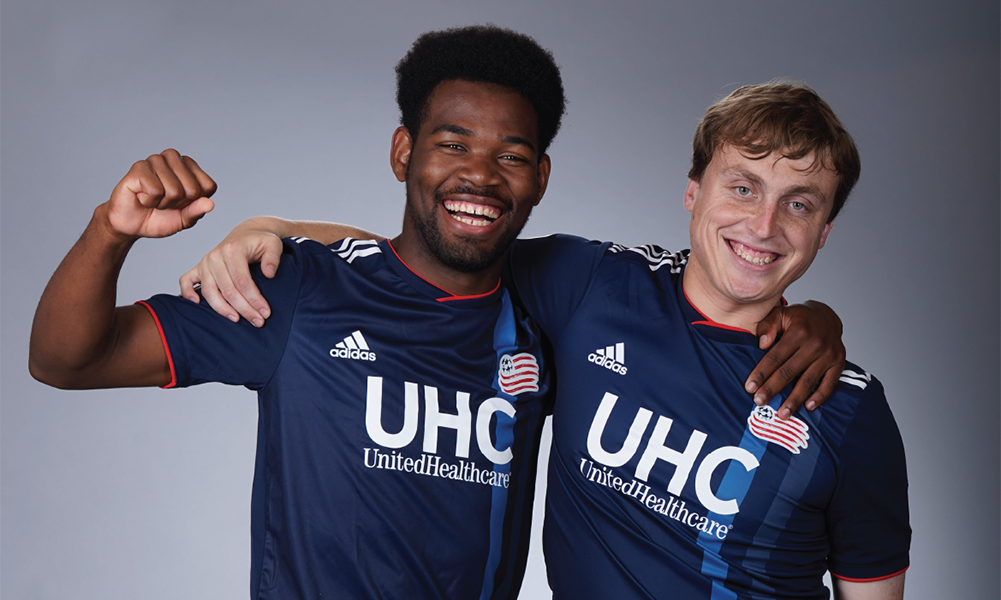 Franklin alum Farley Asmath (left) and Preston Hall represented the New England Revolution at the Special Olympics Unified Sports All-Star Soccer Match at the ESPN World Wide of Sports facilities. (New England Revolution)