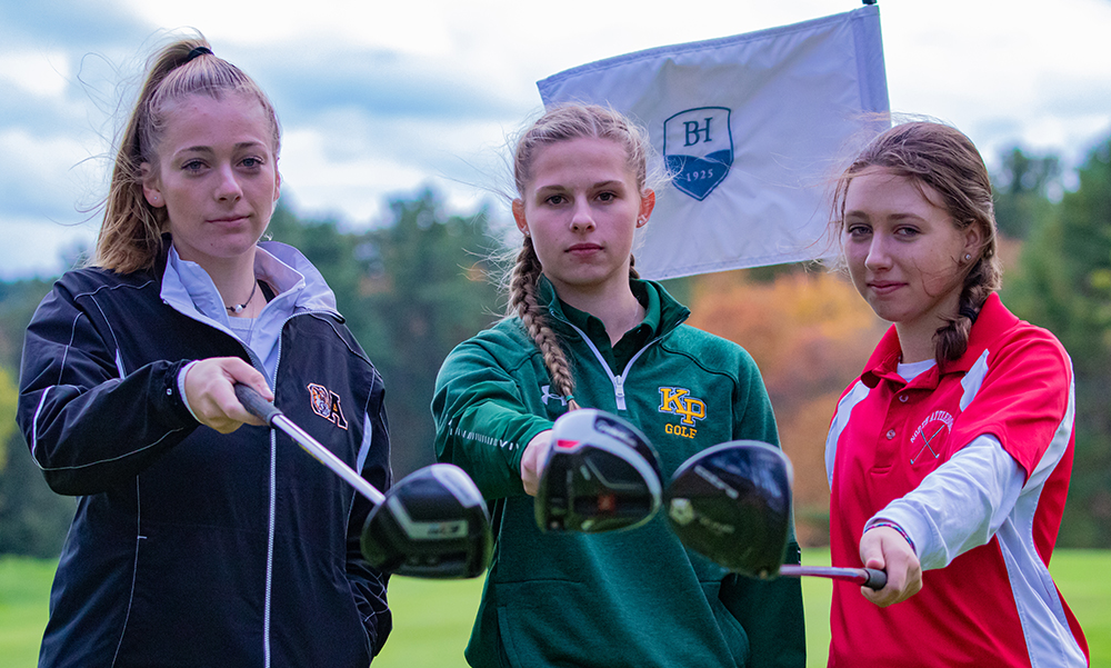 Tate Hadges of Oliver Ames (left), Kayla Schuberth of King Philip (center), and Jillian Berand of North Attleboro competed in the Hockomock championship tournament this week. (Ryan Lanigan/HockomockSports.com)
