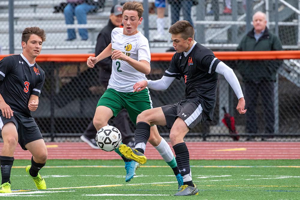 Oliver Ames boys soccer Brady deVos