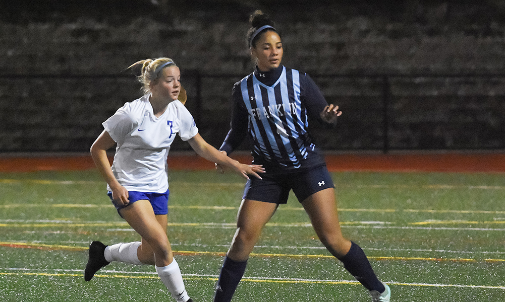 Franklin senior Sabrina Addi (4) helped the Panthers earn an 11th clean sheet in the last 12 games and also scored twice on free kicks. (Josh Perry/HockomockSports.com)