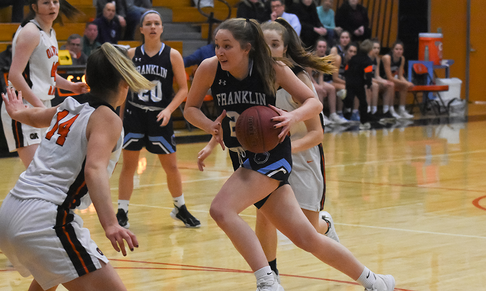 Franklin sophomore Olivia Quinn scored a career-high 32 points, including 23 in the second half, to lead the Panthers to a big win at OA. (Josh Perry/HockomockSports.com)