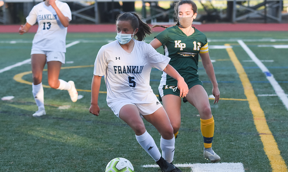 Franklin freshman Anya Zub (5) scored the second goal for the Panthers in a win at King Philip. (Josh Perry/HockomockSports.com)