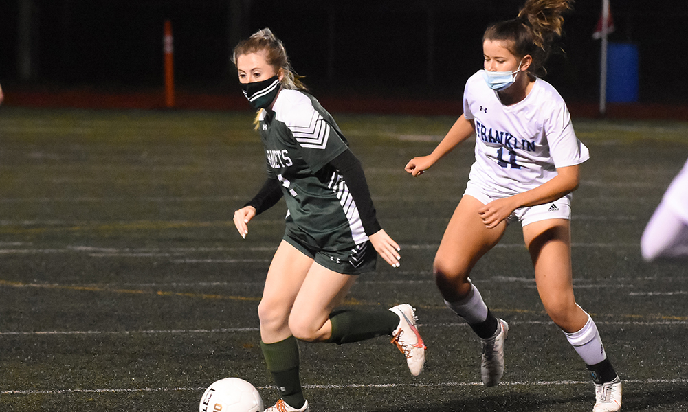 Cathryn Cooney (12) struck with a third quarter free kick to lift Mansfield to a second straight 1-0 win against Franklin. (Josh Perry/HockomockSports.com)
