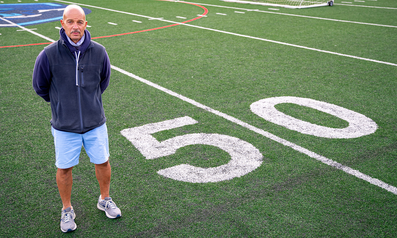 Franklin boys soccer coach Fran Bositis is in his 50th season in charge of the program. (Ryan Lanigan/HockomockSports.com)