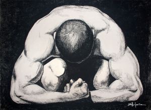 """Original Art, Nude Male Figure Art - drawing / illustration Charcoal and Graphite """"CROUCHING MAN"""" by Marcy Ann Villafaña"""