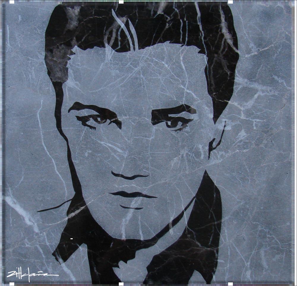 """Original Art, Elvis Presley (sand blast) Marble Stone Art """"ElvisII """" by Marcy Ann Villafaña """"ELVIS II"""" 12"""" x 12"""" Marble 2007"""