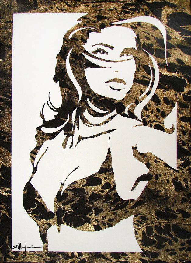 "Original Art , Female Figure in Mixed Media (handmade paper on paper & Metallic Paint ""Gail"" by Marcy Ann Villafaña"