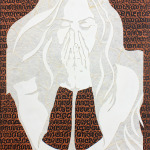 "Original Art , Female Figure in Mixed Media (handmade paper on paper) ""Forgiveness"" by Marcy Ann Villafaña"