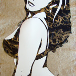 "Original Art , Female Figure in Mixed Media (handmade paper on paper) & Metallic Paint ""GOLDIE"" by Marcy Ann Villafaña ""COLD FIRE"" 29"" x 24"" unframed paper, metallic paints, and ink 2010"