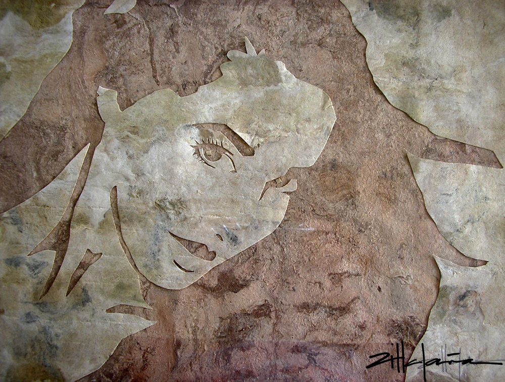"""Original Art , Female Figure in Indian Bark Papers """"Marcy"""" by Marcy Ann Villafaña"""