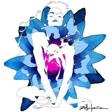 "Original Art , Nude Female - Water Color ""LOTUS"" by Marcy Ann Villafaña"