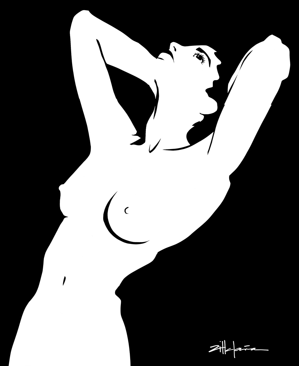 "Original Art , Female Figure in Paper ""NUDE"" by Marcy Ann Villafaña"