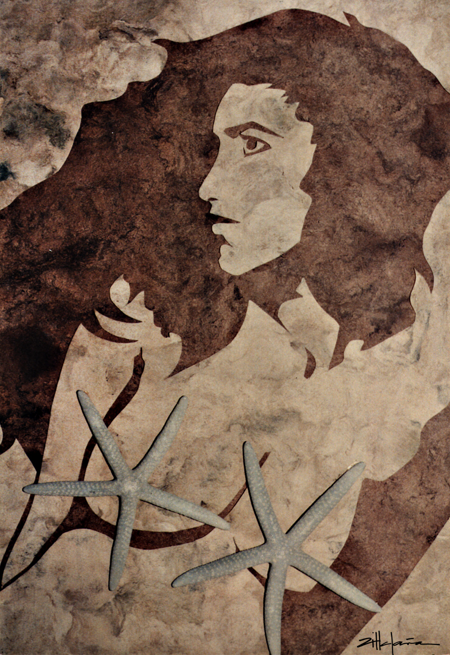"""Original Art , Female Figure in Indian Bark Papers and Star Fish """"STAR DUST by Marcy Ann Villafaña"""
