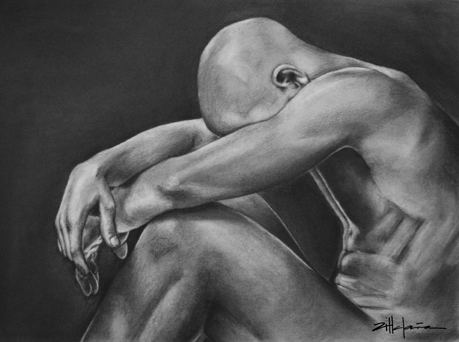 "Original Art, Nude Male Figure Art - drawing / illustration Charcoal and Graphite ""INTHE DARK"" by Marcy Ann Villafaña"