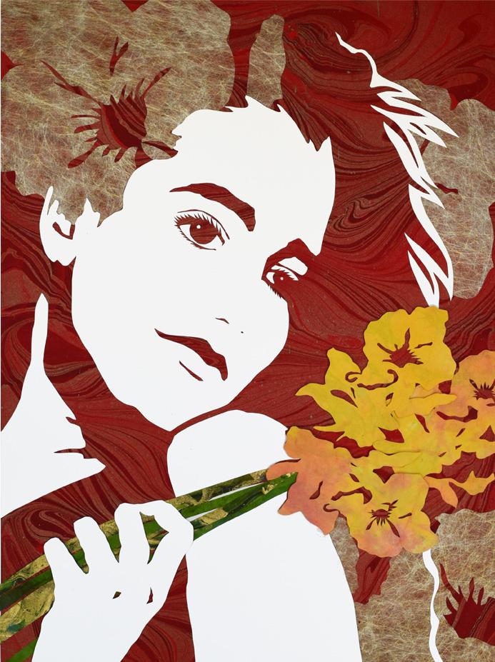 "Original Art, Figurative Art - Mixed media ""SPRING TIME WITH NITI"" by Marcy Ann Villafaña"