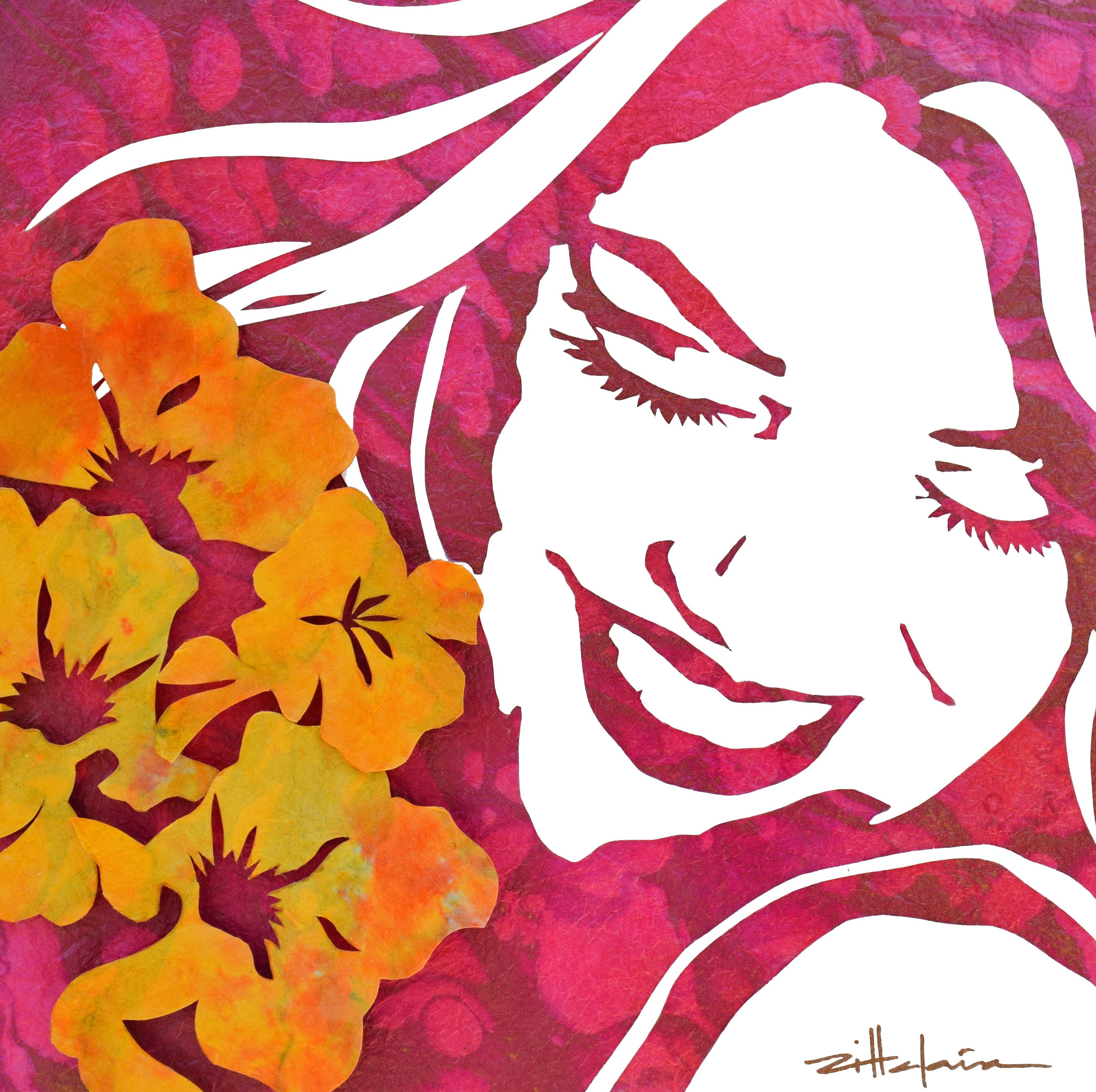 "PINK ""ALOHA"" - Original Art, Figurative Art - Mixed media by Marcy Ann Villafaña"