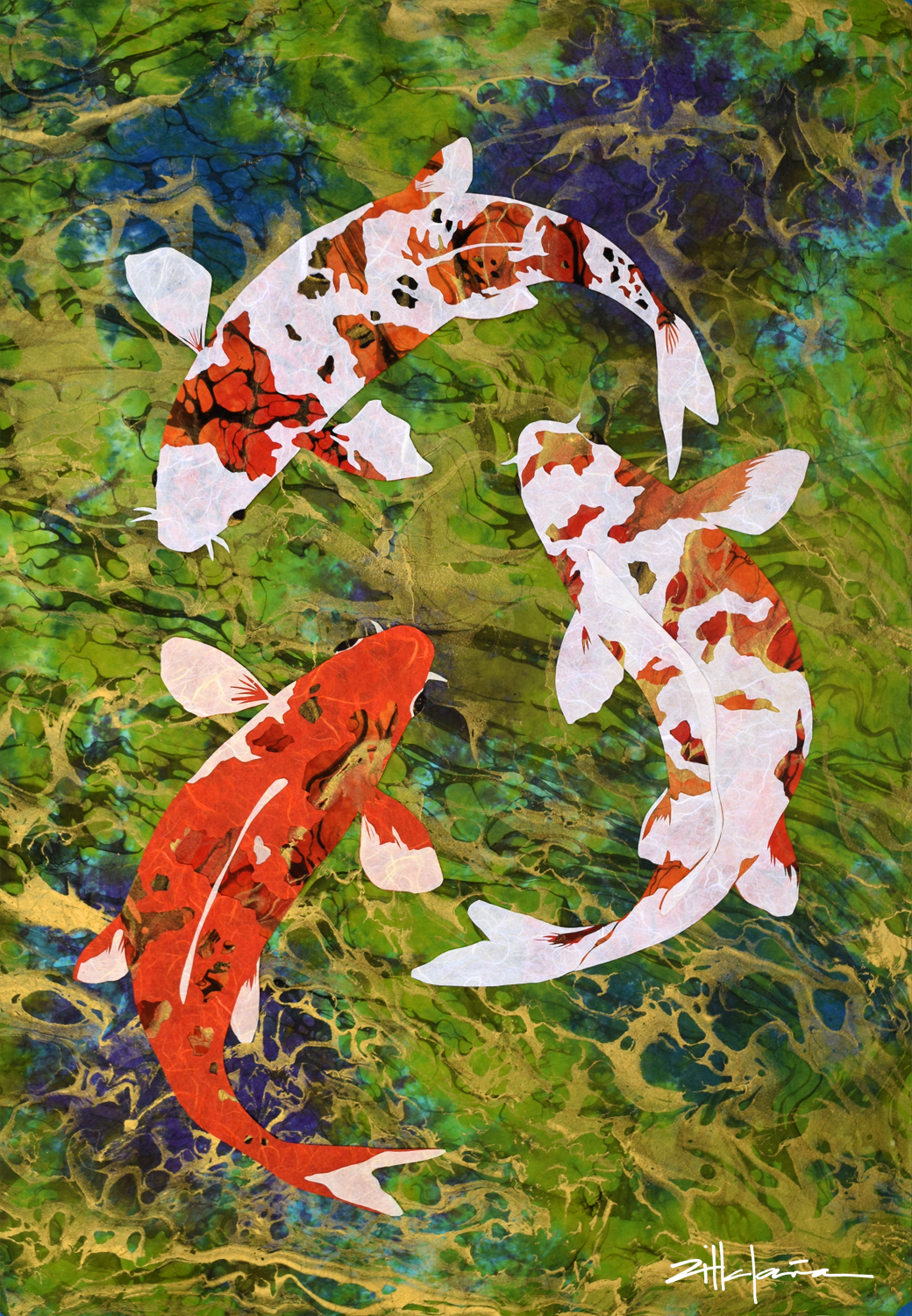 """AREN'T WE KOI?"" Water art by Fine Artist Marcy Ann Villafana"
