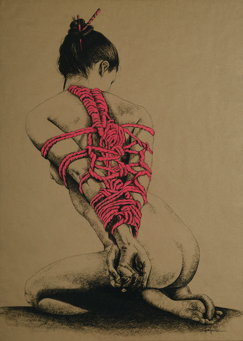 "Original Art, Nude Art Female - Charcoal - Graphite, conte, pastel drawing ""LADY IN RED"" by Marcy Ann Villafaña"