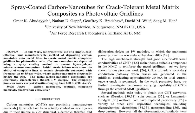 Spray-Coated Carbon-Nanotubes for Crack-Tolerant Metal Matrix Composites as Photovoltaic Gridlines