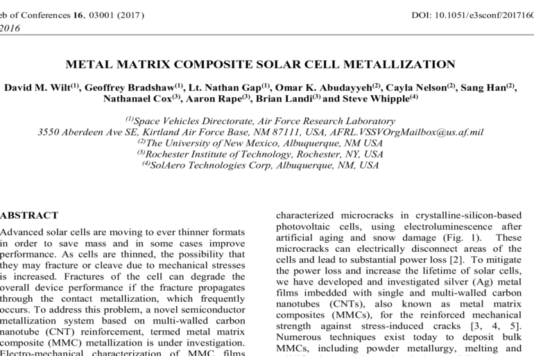 METAL MATRIX COMPOSITE SOLAR CELL METALLIZATION