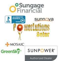 Solar Financing Partners, including Sunpower, Sungage, Sunnova