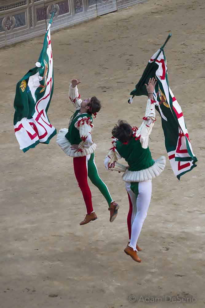 Oca Flags In The Air, Palio, Siena, Italy