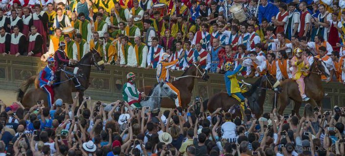 Saying Hello To The Contradas, Palio, Siena, Italy