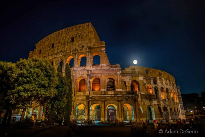 Moon Over The Colosseum, Rome, Italy