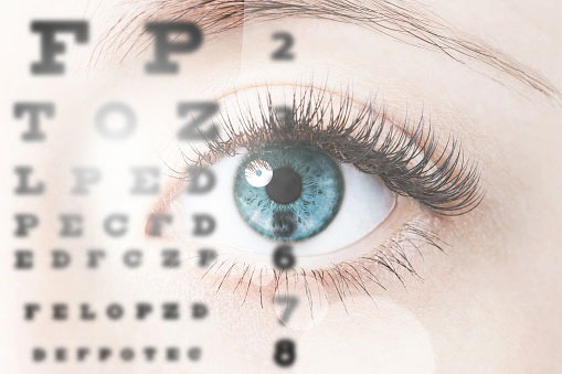 photo of vision chart superimposed over a human eye