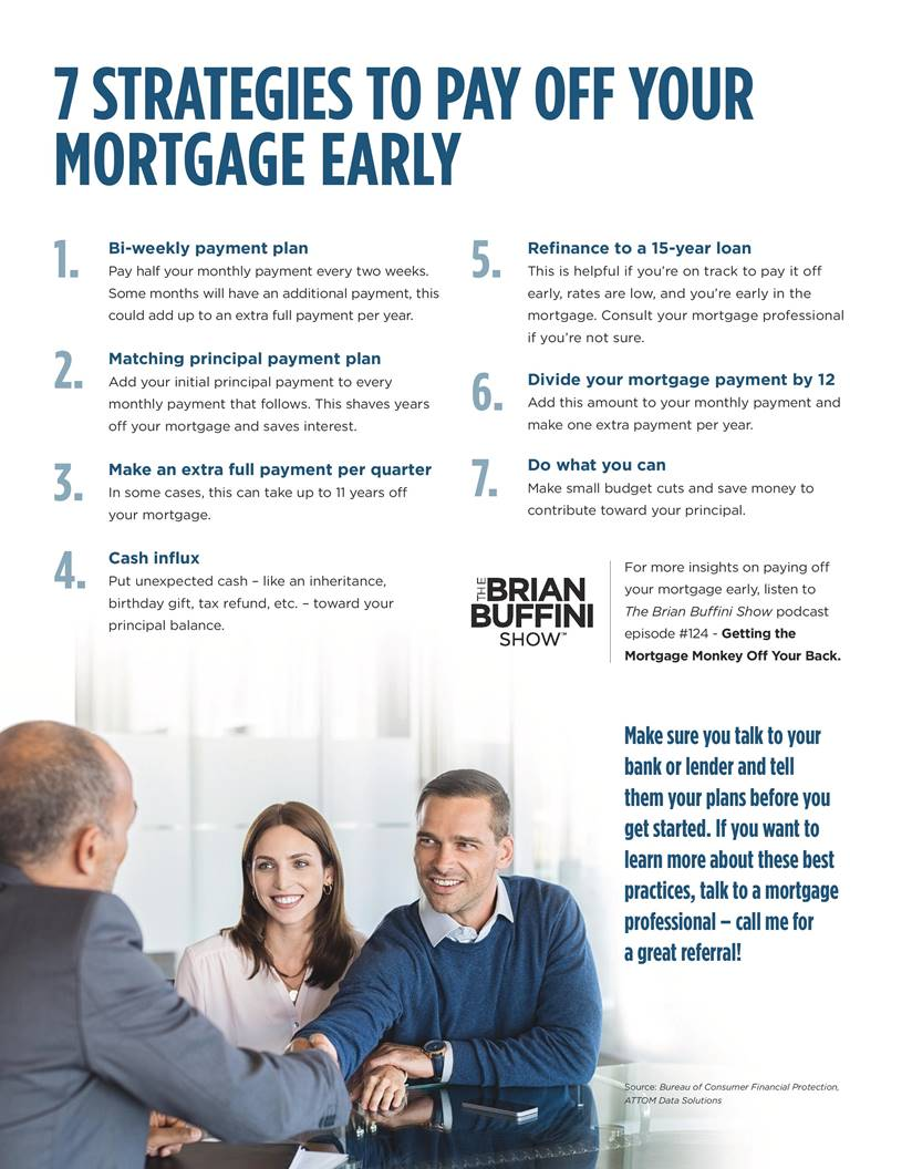 7 strategies to pay off your mortgage early . 1) bi-weekly payment plan. Pay half your monthly payment every two weeks. Some months will have an additional payment, this could add up to an extra full payment per year. #2) Matching principal payment plan. Add your initial principal payment to every monthly payment that follows. This shaves years off your mortgage and saves interest. #3) Make an extra full payment per quarter. In some cases this can take up to 11 years off your mortgage. #4) Cash influx. Put unexpected cash, like an inheritance, birthday gift, tax refund, etc., towards your principal balance. #5) refinance to a 15-year loan. #6) Divide your mortgage payment by 12. Add this amount to your monthly payment make one extra payment per year. #7) Do what you can.