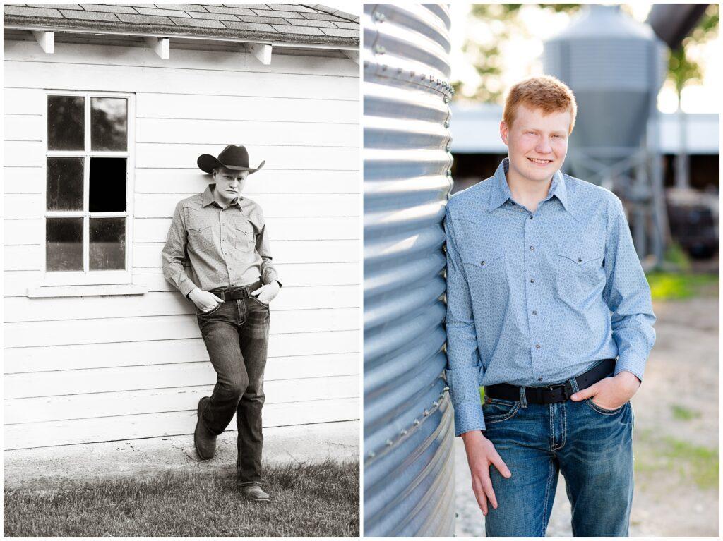 Senior photo by a grain bin and white barn | Farm senior session | Iowa Senior Photographer | CB Studio