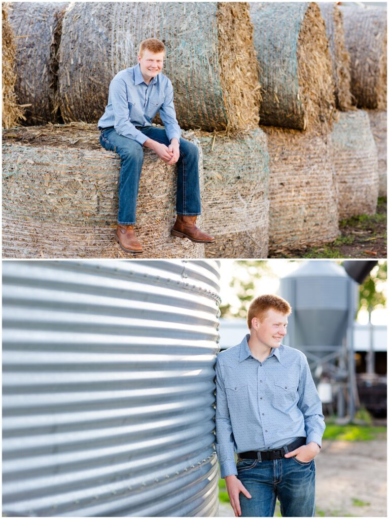 Senior photo on hay bales and grain bin | Farm senior session | Iowa Senior Photographer | CB Studio
