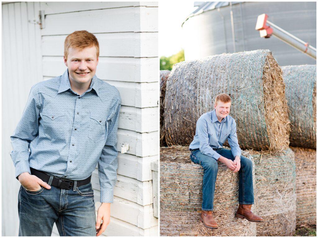 Senior photo on hay bales and white barn | Farm senior session | Iowa Senior Photographer | CB Studio