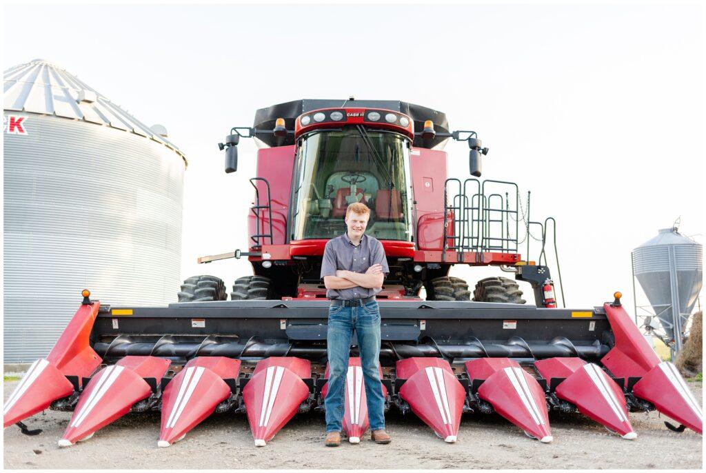 Senior photo with combine | Farm senior session | Iowa Senior Photographer | CB Studio