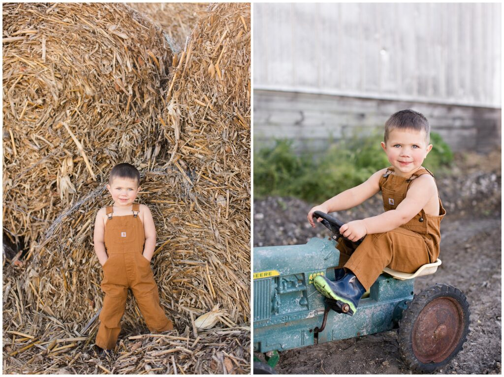 Toddler farm boy with in bales and tractor | Iowa Children Photographer | CB Studio