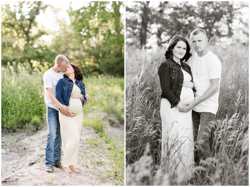 Maternity session in a pasture | Maternity Poses | Iowa Maternity Photographer | CB Studio