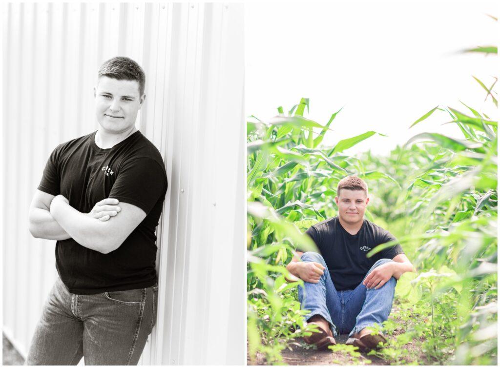 Senior boy farm session | senior boy corn field | Iowa Senior Photographer | CB Studio